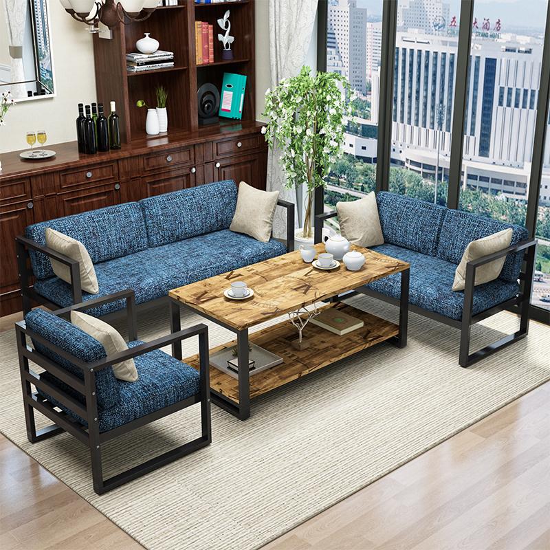 美式loft工业风办公室沙发公寓酒店创意简约商务现代铁艺沙发组合