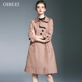 OIBEE2018早秋新款女装时尚韩版抽绳收腰卡其色中长款风衣外套女
