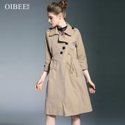 OIBEE2018秋装新款中长款风衣女薄款3粒扣中腰抽绳显瘦女装外套