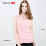 Red Ni underwear new summer female full cotton slim slim thin bottoming shirt lace collar wild wear vest