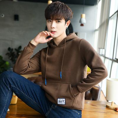 秋冬季加绒加厚卫衣男士休闲连帽衫潮流青年韩版修身套头衫上衣服