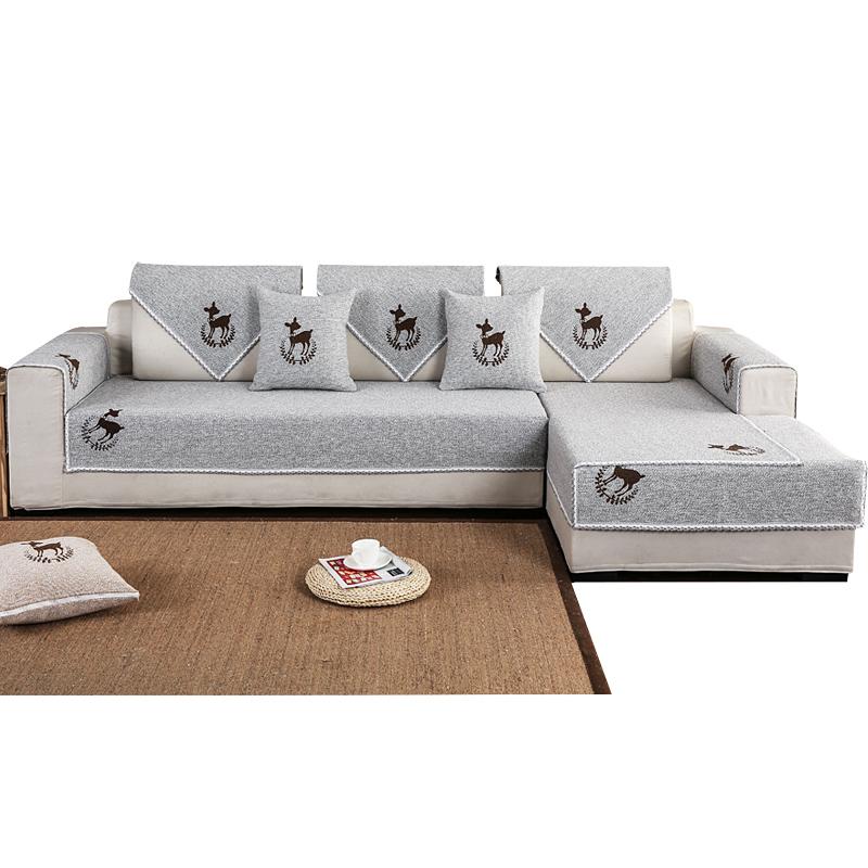 沙发垫四季通用沙发巾全包非萬能套简约现代亚麻布艺棉麻防滑坐垫