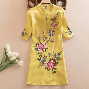 2017夏装中国风民族风上衣大码棉麻女装刺绣花休闲短袖中长款衬衫