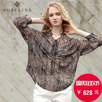 MORELINE沐兰夏季新款 时尚豹纹小立领绑带雪纺衬衫女1253401