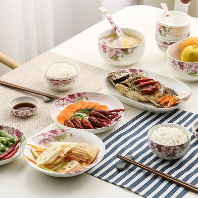 玖盛窑盛世牡丹花卉陶瓷碗盘碟勺日用餐具中式陶瓷碗家用米饭组合