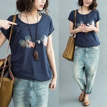 Summer 2019 New Simple Bottom Jacket Loose Leisure Literature Cotton Short-sleeved T-shirt Elephant