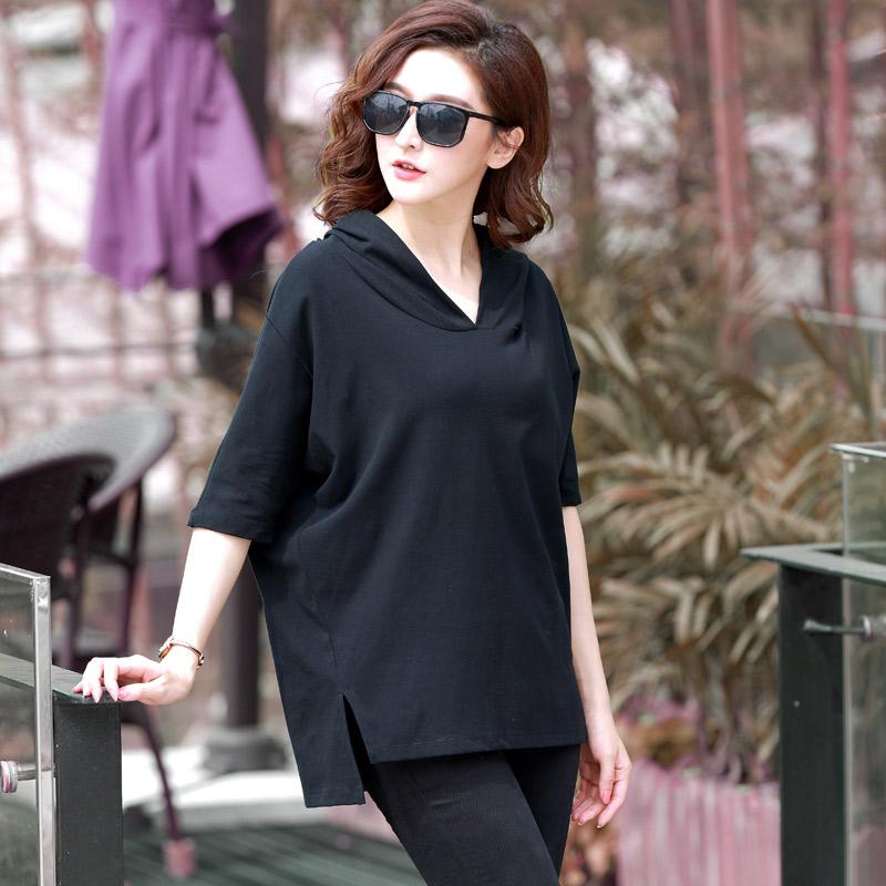 超胖女人遮肚显瘦短袖特大码女装新款韩版夏装宽松减龄上衣女洋气