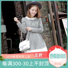 秋冬女装长袖蕾丝圆领羊毛呢连衣裙 韩版文艺时尚修身显瘦打底裙图片