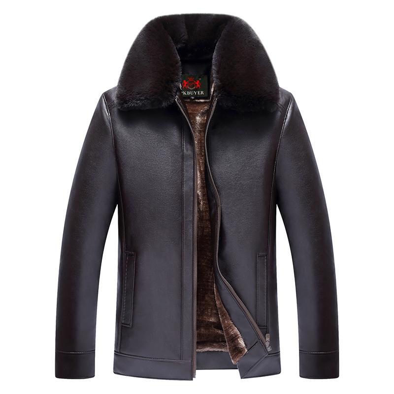 冬季中老年皮衣夾克男裝加絨加厚保暖外套爸爸裝海寧男士PU皮衣男
