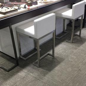 不锈钢珠宝店椅子简约凳子柜台吧台椅高脚前台凳现代酒吧椅靠背椅