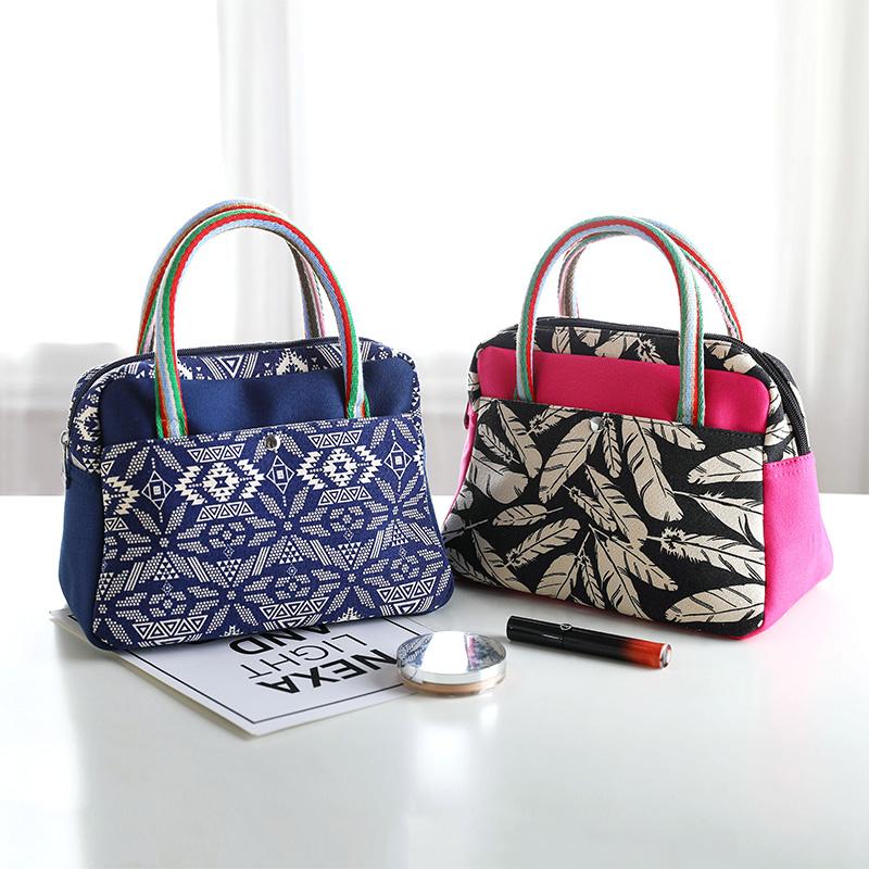 帆布手提包名族风女印花布包甜美淑女包包时尚小拎包饭盒包小布包