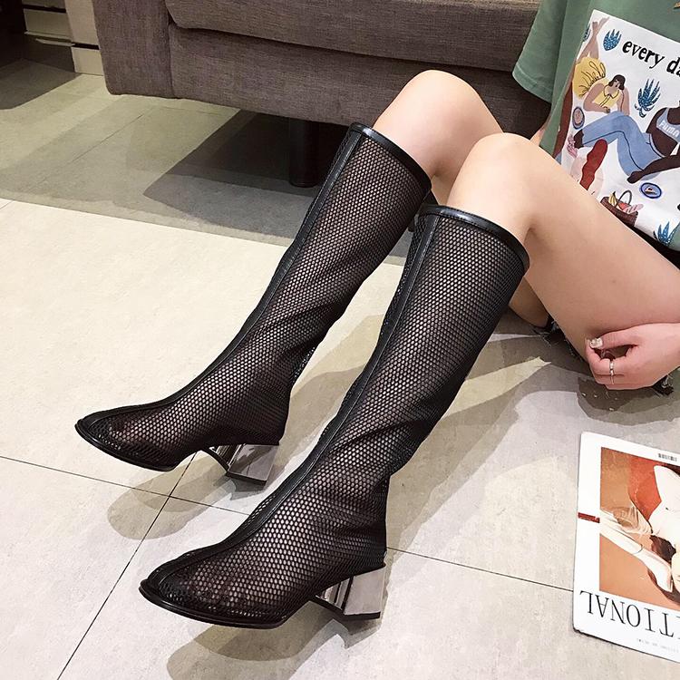 网纱网眼中跟凉靴电镀粗跟高筒长靴女时尚透气女鞋欧美机车靴新款