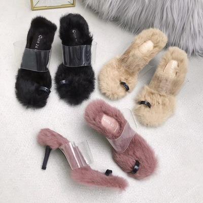 毛毛拖鞋套趾凉鞋透明胶一字带露趾半拖鞋兔毛高跟鞋细跟时尚女鞋