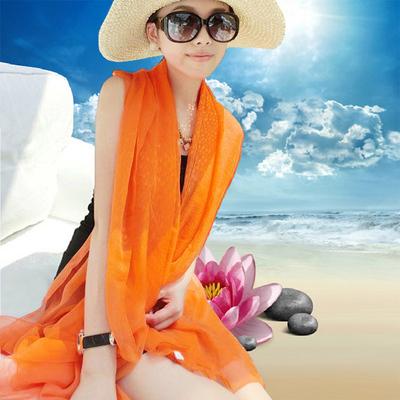 夏季纯色防晒丝巾海边沙滩巾长款春秋披肩女纱巾围巾秋冬季大雪纺