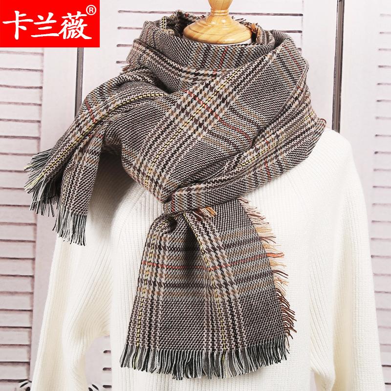 围巾英伦格子女冬季