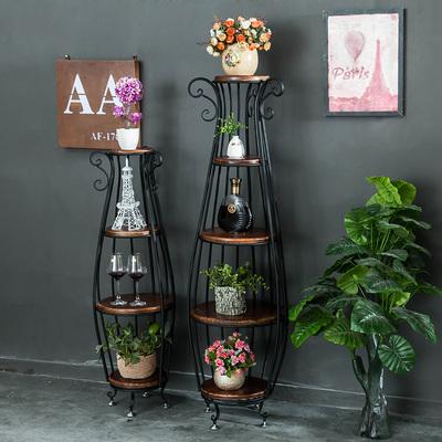 新品美式复古实木铁艺花架花几阶梯落地式多花瓶装饰架阳台置物架618大促