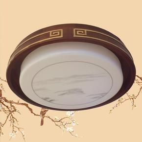 阿尼玛正品新中式灯具橡木亚克力圆灯清爽客厅卧室书房阳台吸顶灯