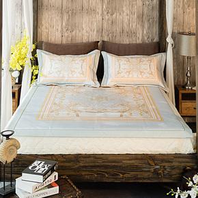 美式冰丝凉席三件套加厚1.8米床罩空调席夏1.5m床笠水洗高档软席