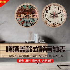14寸复古钟表挂钟客厅怀旧做旧创意卧室静音时钟个性装饰挂件壁挂