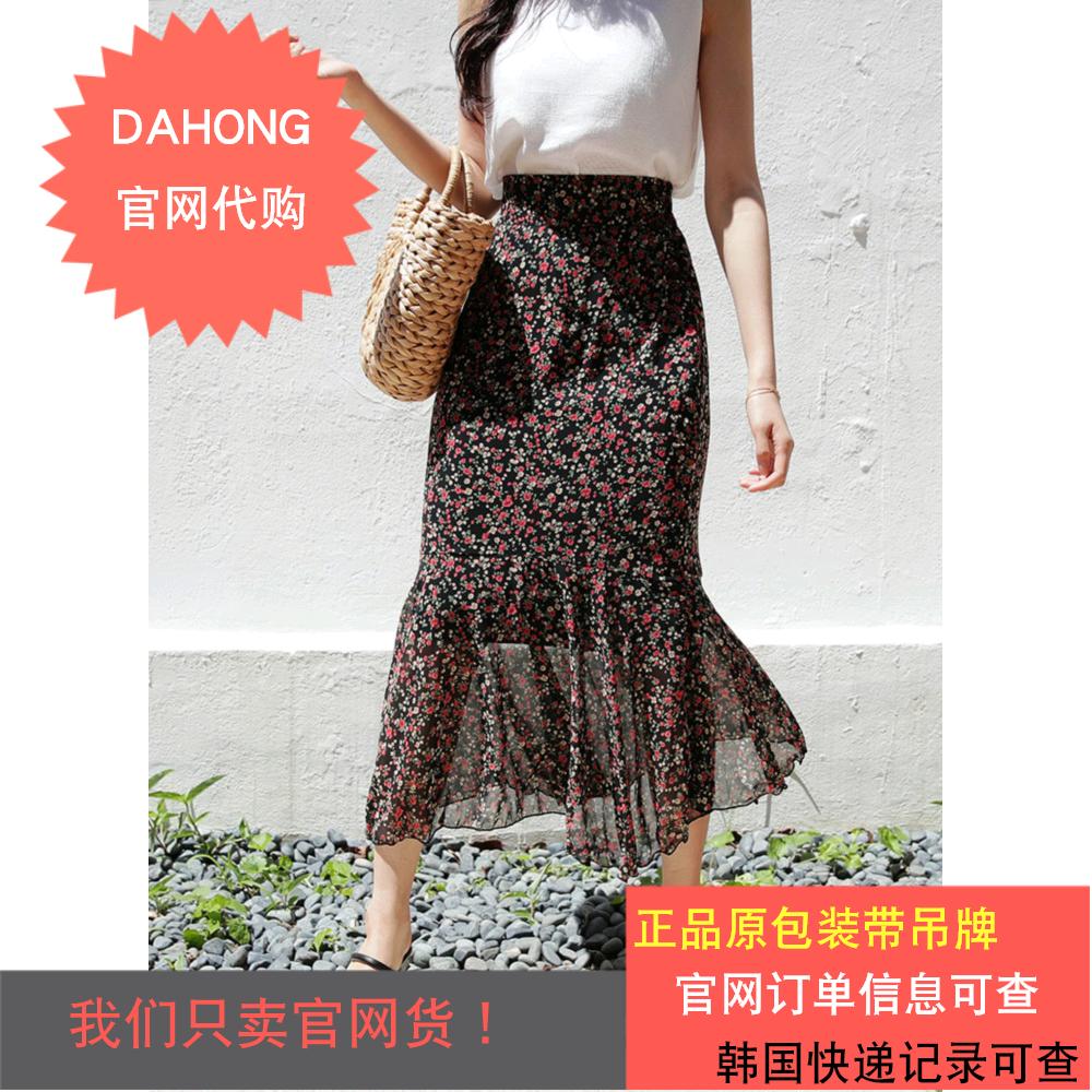 韩国代购时尚起义初夏新款荷叶边裙摆碎花图案修身人鱼裙|730514
