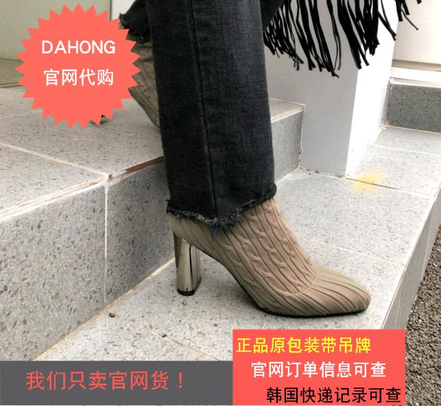 韩国代购时尚起义2019初夏新款甜美针织鞋面圆头粗跟短靴758030
