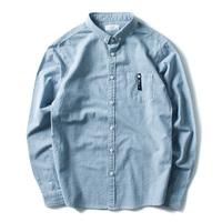 日系复古秋季纯棉修身小领格子衬衫男休闲青年长袖衬衣韩版上衣潮