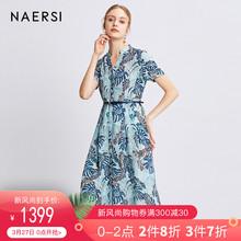 娜尔思品牌蓝色印花连衣裙2019春装新款时尚收腰短袖衬衫连衣裙女图片
