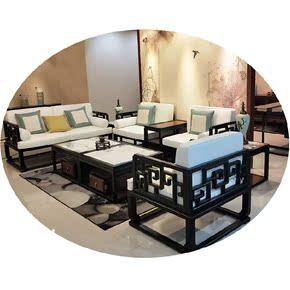 弦木现代新中式古典实木沙发组合禅意中国风客厅沙发别墅家具定制