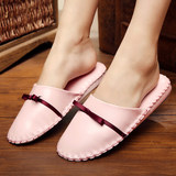 Korean pink princess bow home bedroom high-grade soft bottom wooden floor indoor leather slippers home slippers winter
