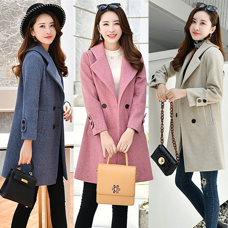 2018 new fashion high-end business lady Ni coat autumn and winter women's long