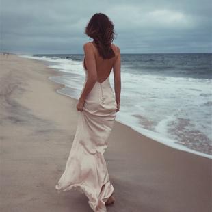 超仙性感修身 吊带露背拖地长裙海边度假旅拍连衣裙 沙滩裙2019新款