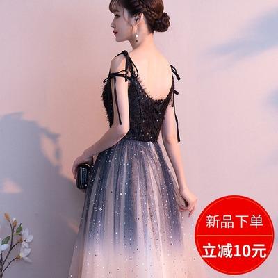 晚礼服裙女2019新款气场女王仙气梦幻仙星空长款气质宴会简单大方