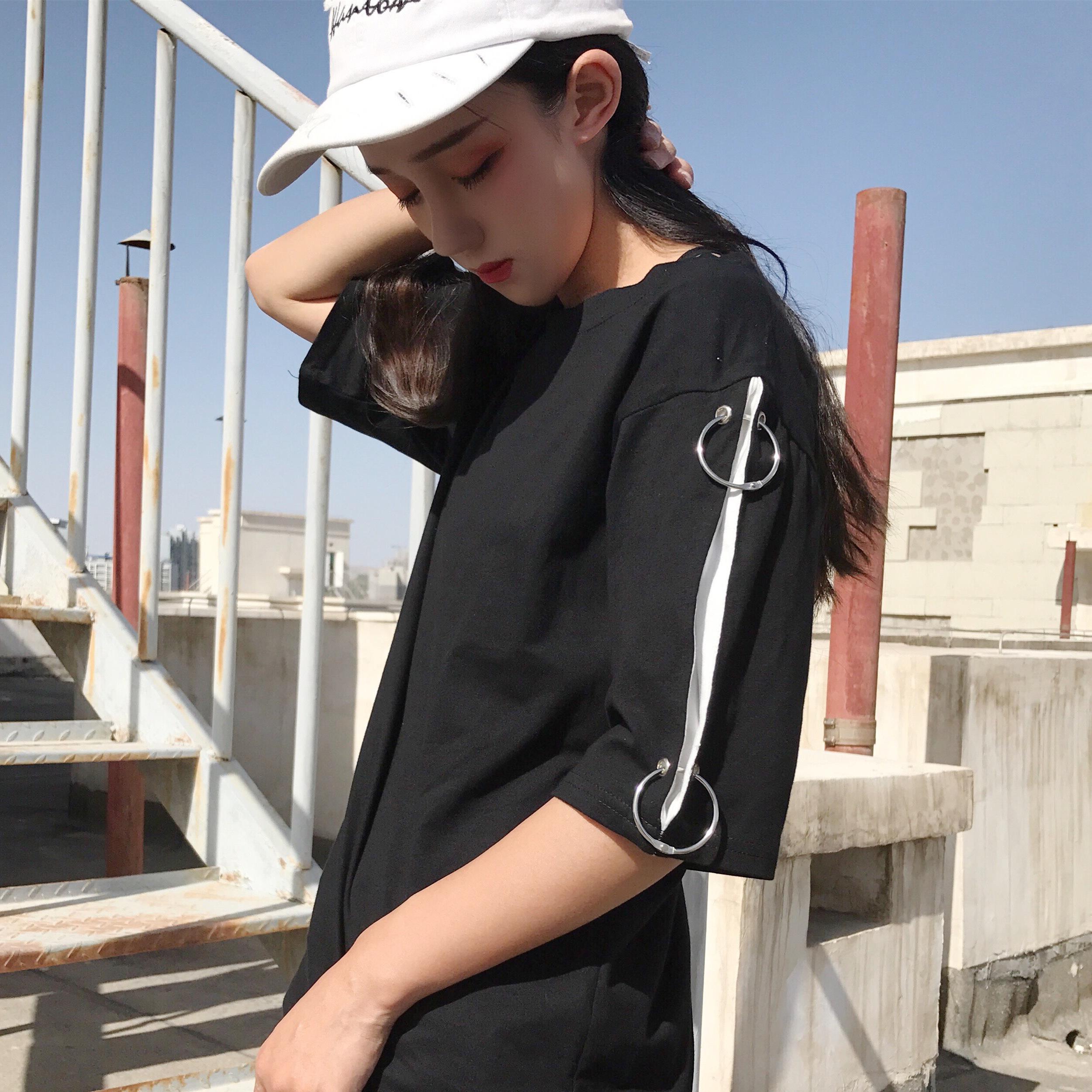 夏季女装日系BF原宿风宽松短袖T恤个性铁圈铁环半袖体恤上衣学生5元优惠券