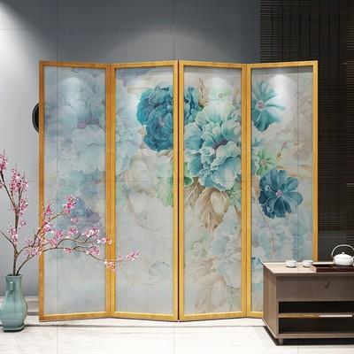 现代简欧客厅半透乔其纱可移动屏风实木折叠玄关美式折叠屏风隔断包邮