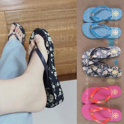 美国正品Tory Burch夏季女款人字拖坡跟橡胶舒适休闲沙滩拖鞋