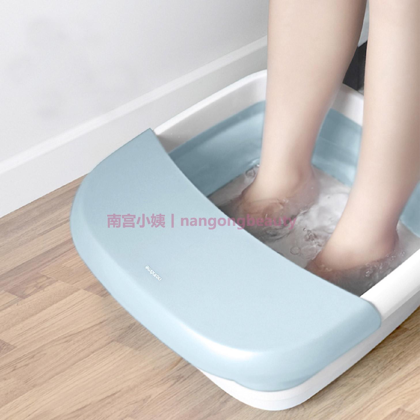 养生!可折叠泡脚桶足浴盆洗脚 恒温加热 气泡按摩 红光理疗