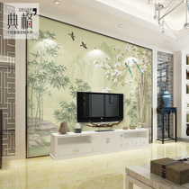 现代中式花鸟无纺布墙纸客厅电视机背景墙壁纸影视墙墙布酚