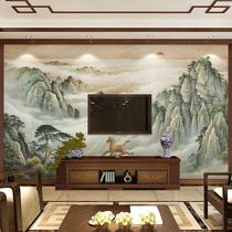水墨山水客厅电视背景墙壁纸中式书房无缝壁画影视墙墙纸墙布