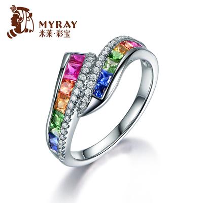 米莱珠宝 天然红蓝宝石戒指 18K金镶嵌钻石彩虹彩色宝石女款排戒