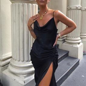 NDZ法式复古优雅黑色缎面珠光吊带连衣裙开衩长裙派对年会2019女