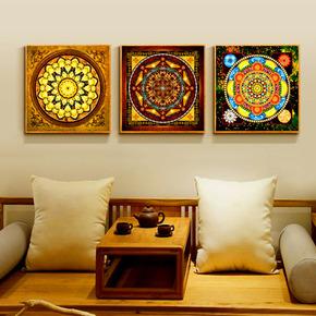 唐卡中式装饰画东南亚明族风格客厅沙发背景墙三联画挂画玄关壁画