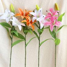 饰插花艺摆设花束 单支百合仿真花假花绢花塑料花卉客厅室内落地装图片