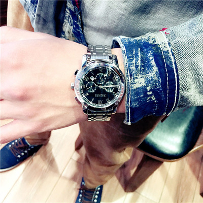 商務休閑型男大表盤日歷防水鋼帶真皮表帶男裝月相雙日歷石英手表專賣店