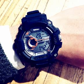正品新款男装三防防水防震户外运动多功能迷彩色电子手表学生腕表
