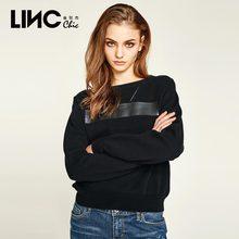 LINC/金羽杰2018春季新款个性绣花胶印圆领套头长袖卫衣女8150626图片