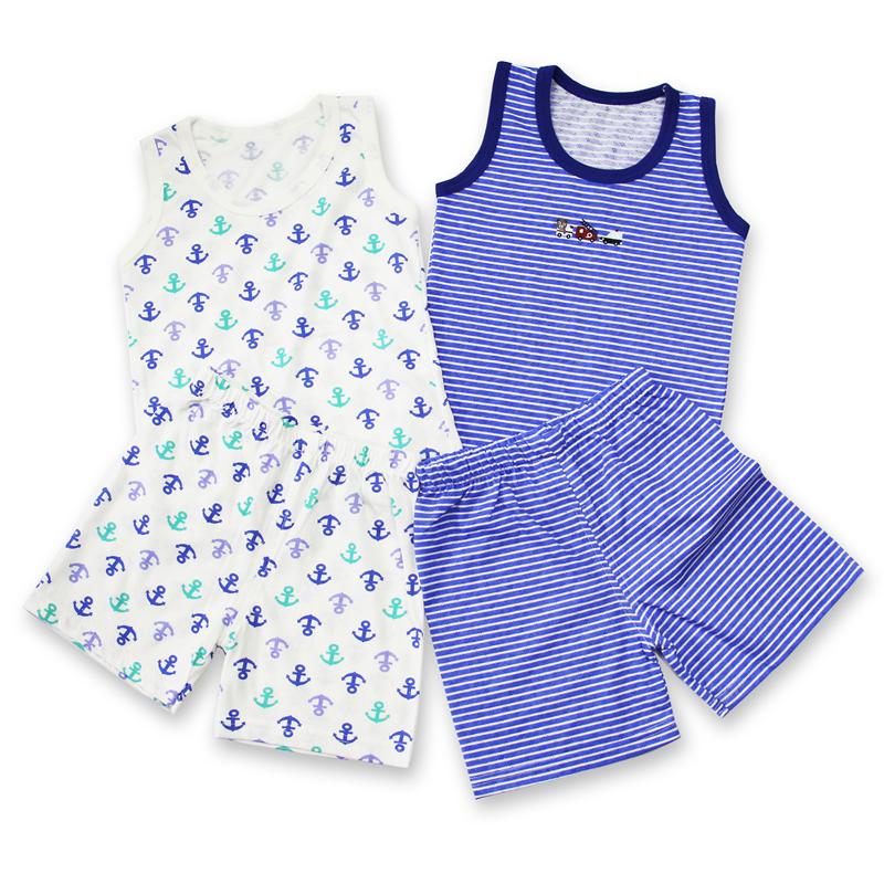 男童背心短裤家居服纯棉薄款男孩夏季睡衣中童套装小童宝宝空调服