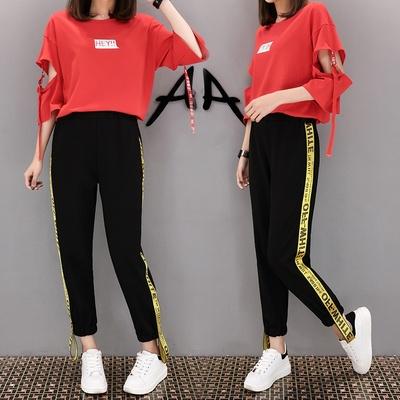 夏装2018新款阔腿裤搭配上衣服女装两件时髦一套装学生韩版时尚潮