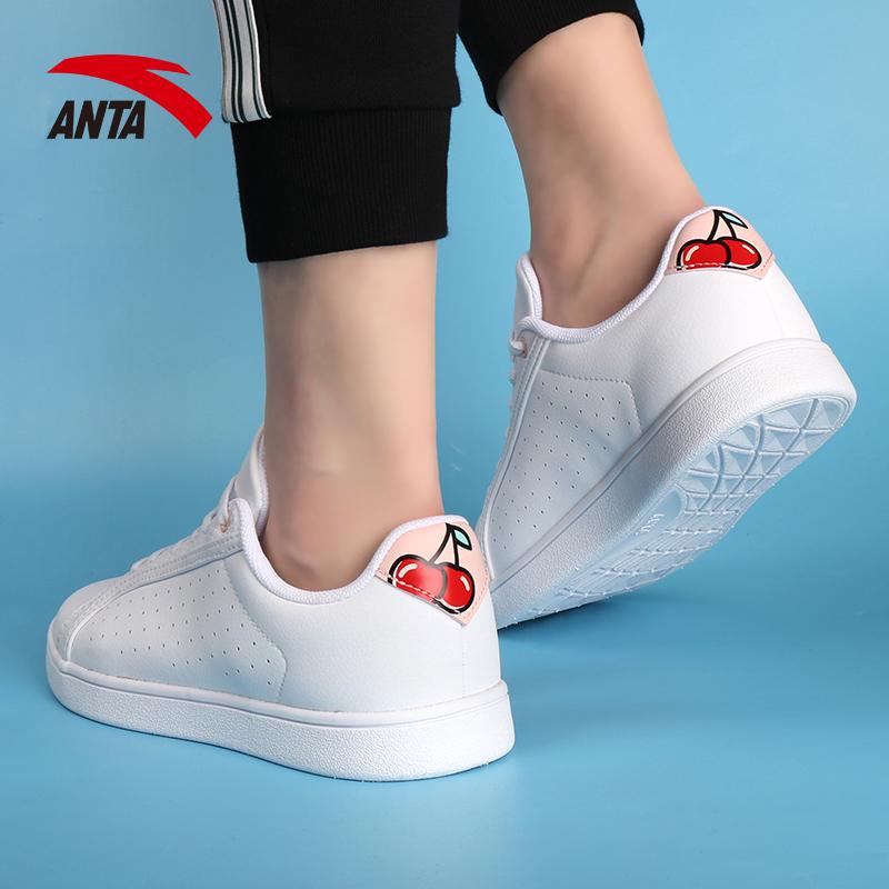 安踏女鞋板鞋女2019冬季新款正品跑步运动休闲鞋小白鞋女12928060