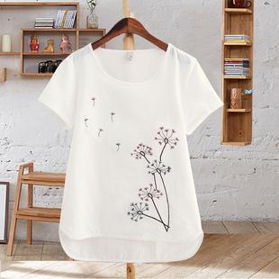 夏季女装体恤白色圆领仿棉麻上衣刺绣花半袖短袖大码宽松t恤女