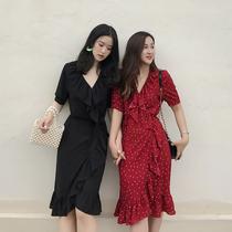复古荷叶边短袖红色雪纺波点连衣裙女夏装2018新款V领中长款裙子